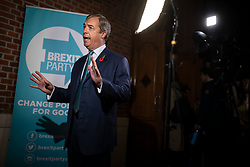 © Licensed to London News Pictures. 01/11/2019. London, UK. Nigel Farage gives an interview at Emmanuel Centre in Westminster after a Brexit Party event about the general election campaign. Photo credit: Rob Pinney/LNP