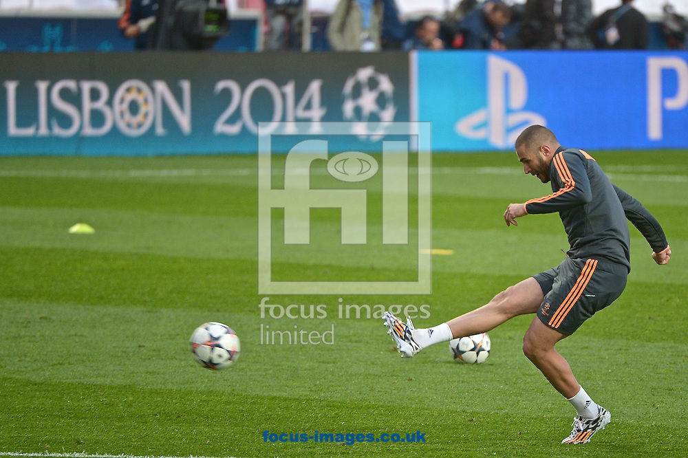 Karim Benzema of Real Madrid pictured during Real Madrid training at Est&aacute;dio da Luz, Lisbon<br /> Picture by Ian Wadkins/Focus Images Ltd +44 7877 568959<br /> 23/05/2014