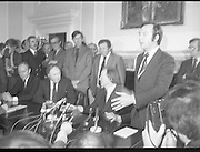 Charles Haughey,New Fianna Fáil Leader  (N5)..1979..07.12.1979..12.07.1979..7th December 1979..Today saw the election of Mr Charles Haughey as leader of Fianna Fáil. Mr Haughey takes over the role after the resignation of Jack Lynch.In a surprise result Mr Haughey beat the party favourite Mr George Colley TD.