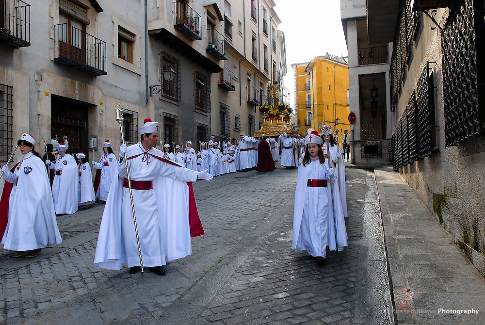 The El Resucitado Procession Begins during Semana Santa in Cuenca, Spain