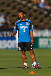 July 20, 2011; Santa Clara, CA, USA;  San Jose Earthquakes forward Scott Sealy (9) warms up before the game against the Vancouver Whitecaps at Buck Shaw Stadium. San Jose tied Vancouver 2-2.