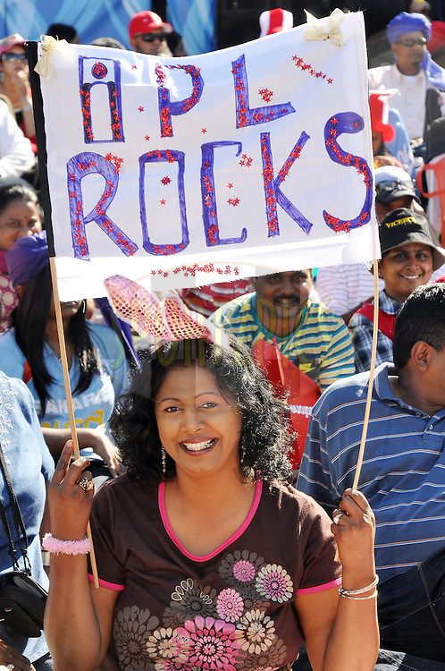 DURBAN, SOUTH AFRICA - 20 May 2009.This spectator showing her support  during the IPL Season 2 match between the Rajasthan Royals and the Kolkata Knight Riders held at Sahara Stadium Kingsmead, Durban, South Africa..
