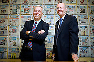 Ken Paulson, left, and Craig Moon, editor and publisher of USA Today, respectively, on the 25th anniversary of USA Today in the Mclean, VA office on September 11, 2007. (Michael Temchine for The New York Times)