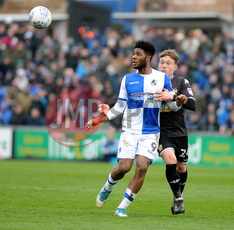 Ellis Harrison of Bristol Rovers is challenged by Callum Styles of Bury - Mandatory by-line: Neil Brookman/JMP - 30/03/2018 - FOOTBALL - Memorial Stadium - Bristol, England - Bristol Rovers v Bury - Sky Bet League One