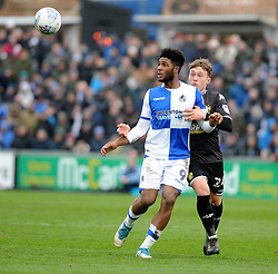 Ellis Harrison of Bristol Rovers is challenged by Callum Styles of Bury - Mandatory by-line: Neil Brookman/JMP - 30/03/2018 - FOOTBALL - Memorial Stadium - Bristol, England - Bristol Rovers v Bury - Sky Bet League One