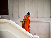 12 MARCH 2016 - LUANG PRABANG, LAOS: A Buddhist monk leaves a temple's meditation hall in Luang Prabang, Laos. Laos is one of the poorest countries in Southeast Asia. Tourism and hydroelectric dams along the rivers that run through the country are driving the legal economy.       PHOTO BY JACK KURTZ