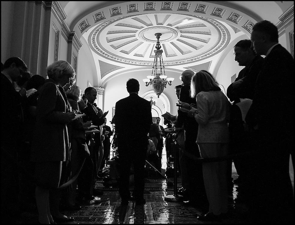 Senate Majority Leader Tom Daschle answers reporters questions in the Capitol.  10/23/01..©PF BENTLEY/PFPIX.com.
