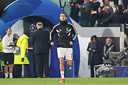 Juventus Forward Cristiano Ronaldo runs onto the pitch for warm up during the Champions League Group H match between Juventus FC and Manchester United at the Allianz Stadium, Turin, Italy on 7 November 2018.