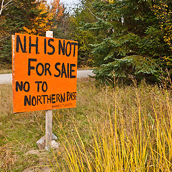 A homemade sign opposing Northern Pass. US 3 in Stratford, New Hampshire.
