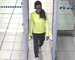 © Licensed to London News Pictures. 22/02/2015. LONDON, UK Amira Abase at Gatwick Airport. Police are urgently trying to trace Shamima Begum, 15, Kadiza Sultana, 16, and 15-year-old Amira Abase after they flew to Istanbul in Turkey from Gatwick Airport on Tuesday. The girls are believed to have fled to Syria to join Islamic State. Photo credit : LNP