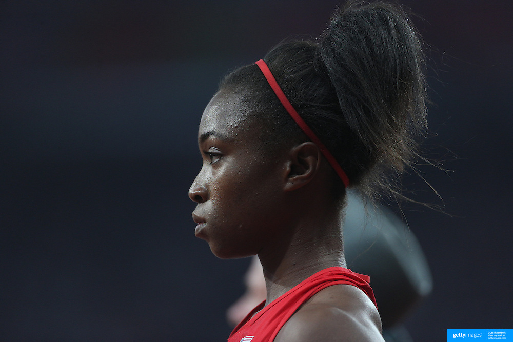 Tianna Madison, USA, during the Women's 4 x 100m Relay Final at the Olympic Stadium, Olympic Park, Stratford during the London 2012 Olympic games. London, UK. 10th August 2012. Photo Tim Clayton