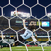 Panama Keeper Jaime Penedo #1 stops a  EL Salvador penalty attempt in midst of penalty kicks. Panama would go on to defeat EL Salvador 2-1 in the concacaf gold cup quarterfinals Sunday, June 19, 2011 at RFK Stadium in Washington DC.