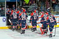 KELOWNA, CANADA -FEBRUARY 1: The Kamloops Blazers exit the ice against the Kelowna Rockets on February 1, 2014 at Prospera Place in Kelowna, British Columbia, Canada.   (Photo by Marissa Baecker/Getty Images)  *** Local Caption ***