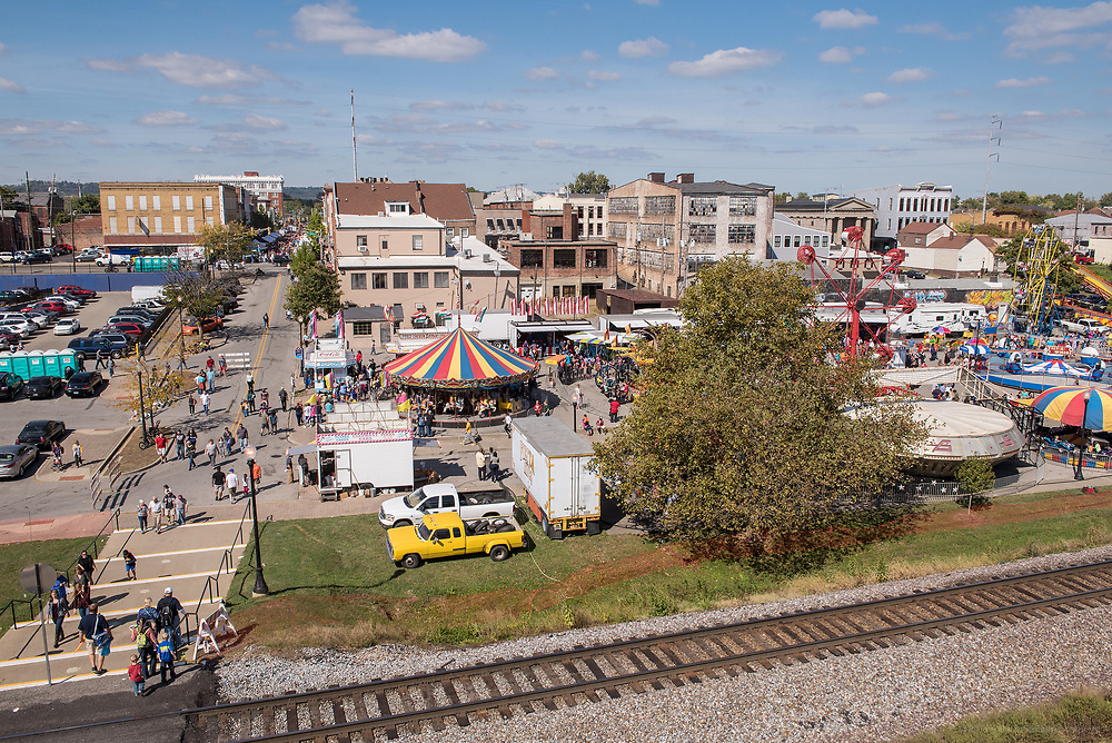 The Fiesta Rides as seen from atop the floodwall at the HotRod Harvest-themed 2015 Harvest Homecoming Festival in New Albany, Ind. Oct. 10, 2015