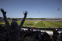 June 28, 2019 - Chester Le Street, County Durham, United Kingdom - Spectators celebrate a six from South Africa during the ICC Cricket World Cup 2019 match between Sri Lanka and South Africa at Emirates Riverside, Chester le Street on Friday 28th June 2019. (Credit Image: © Mi News/NurPhoto via ZUMA Press)