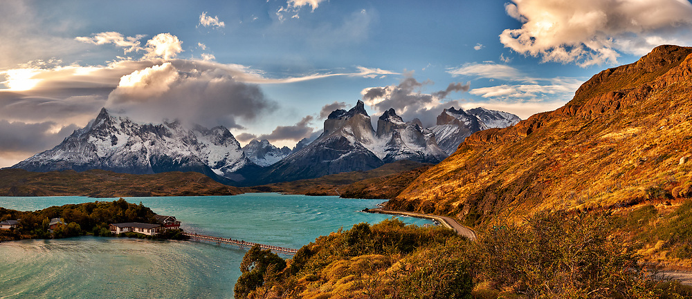Sky, Clouds, and Mountains in Torres del Paine National Park. Composite of six images taken with a Fuji X-T1 camera and 23 mm f/1.4 lens.