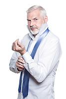 caucasian senior man portrait dressing isolated studio on white background