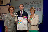 "In the SCCUL Entrepreneurship AWARDS 2012  Category Award ""Retail"".announced by.Announced by.Phyllis McNamara Cobwebs, presented by Cllr. Terry O'Flaherty.Mayor of Galway City to the winner.Kevin Nugent of Mr. Waffle.PIcture:Andrew Downes"