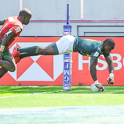 Siviwe Soyizwapi of South Africa scores a try during the match between Kenya and South Africa at the HSBC Paris Sevens, stage of the Rugby Sevens World Series on June 1, 2019 in Angers, France. (Photo by Sandra Ruhaut/Icon Sport)