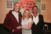 repro free: Vodafone Comedy Carnival : <br /> <br /> Pictured at the launch of the Vodafone Comedy Carnival in the Roisin Dubh were John Donnellan, Sorcha O'Flanagan and Olaf Tyaransen. The 2016 Vodafone Comedy Carnival runs as part of Vodafone&rsquo;s Centre Stage and is sure to fill the &lsquo;Eyre&rsquo; with laughter with performances from international and home grown comedians over the October bank holiday weekend (25th to 31st of October). Shows will take place in multiple venues across the city, including the brand new venue &lsquo;The Red Box&rsquo; at Eyre Square. Tickets on sale from Monday 29th August. For more for info go to  HYPERLINK &quot;http://www.vodafonecomedycarnival.com&quot; www.vodafonecomedycarnival.com&nbsp; <br /> Photo: xposure.