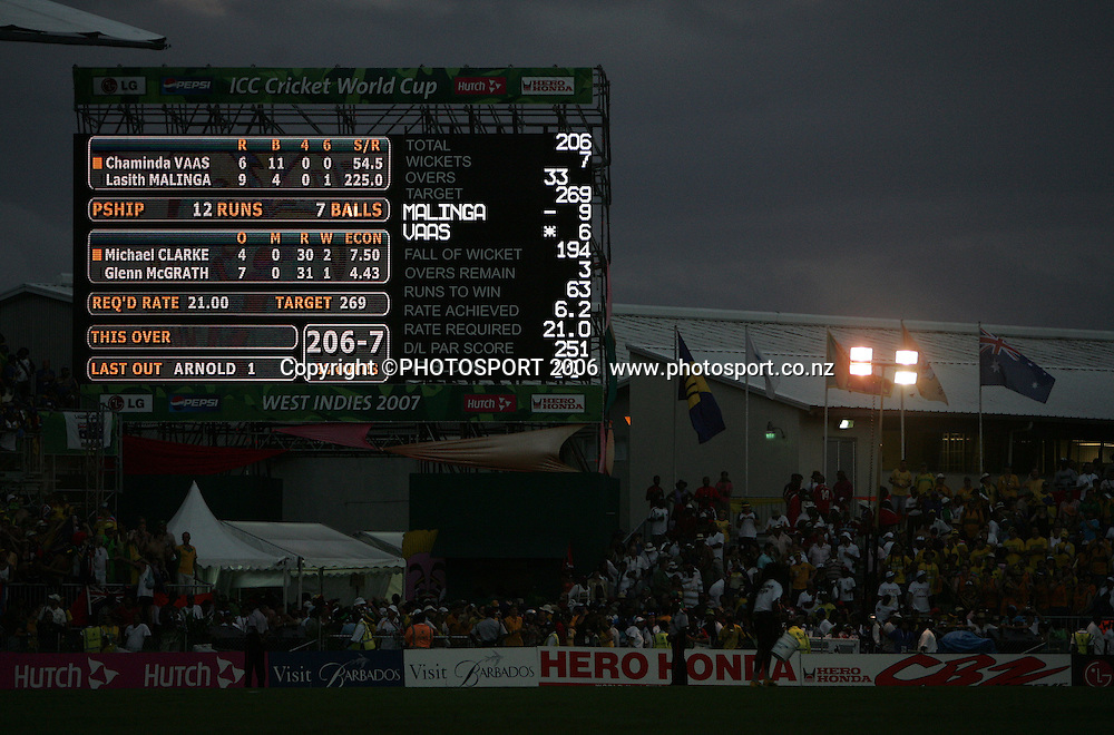 The scoreboard is lit against the dark night sky towards the end of the 2007 ICC Cricket World Cup Final between Australia and Sri Lanka at Kensington Oval, Barbados, West Indies on Saturday 28 April 2007. Australia won the toss and elected to bat first and won the match by 53 runs. Photo: Andrew Cornaga/PHOTOSPORT<br /><br /><br />280407