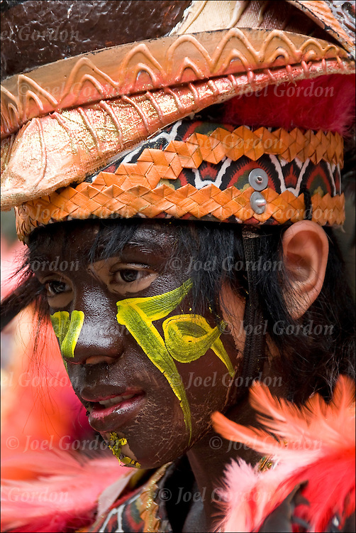 Portraits of performer from the Tribu Pan-ay, who won the Ati-Atihan tribe contest in this year's Dinagyang festival, were the main performers during the festivities after the Philippine Independence Day in New York.