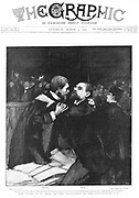 Emile Zola (1840-1902) French novelist, on trial for defamation of French military authorities for writing letter to the press referring to the Esterhazy court martial in his effort to obtain justice for Alfred Dreyfus. Zola embracing his counsel on hearing the verdict. He was sentenced to a year in prison but escaped to England. From 'The Graphic', 5 March 1898.