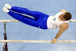 Oleg Verniaiev of Ukraine competes in the Parallel Bars during Final day 2 of Artistic Gymnastics World Challenge Cup Ljubljana, on April 20, 2014 in Hala Tivoli, Ljubljana, Slovenia. (Photo by Matic Klansek Velej / Sportida.com)