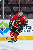 PENTICTON, CANADA - SEPTEMBER 16: Eetu Tuulola #75 of Calgary Flames warms up against the Winnipeg Jets on September 16, 2016 at the South Okanagan Event Centre in Penticton, British Columbia, Canada.  (Photo by Marissa Baecker/Shoot the Breeze)  *** Local Caption *** Hunter Smith;