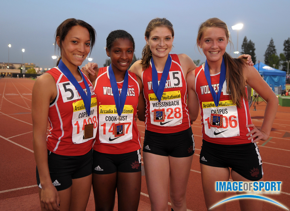 Apr 6, 2012; Arcadia, CA, USA; Members of the Harvard-Westlake girls 1,600m sprint medley relay pose after setting a meet record of 3:56.34 in the Arcadia Invitational at Arcadia High. From left: Shea Copeland and Imani Cook-Gist and Amy Weissenbach and Cami Chapus.