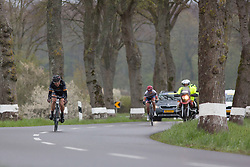 Giorgia Bronzini (ITA) of Wiggle Hi5 Cycling Team leads the breakaway after in the first short lap of the first, 106.9km road race stage of Elsy Jacobs - a stage race in Luxembourg, in Steinfort on April 30, 2016