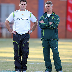 DURBAN, SOUTH AFRICA - JUNE 05, Rassie Erasmus with Springbok coach Heyneke Meyer during the South African national rugby team training session at Northwood Crusaders Rugby Club on June 05, 2012 in Durban, South Africa<br /> Photo by Steve Haag / Gallo Images