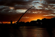 13/5/14 The sun sets over the Samuel Beckett Bridge in Dublin Pic: Marc O'Sullivan