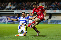 Callum O'Dowda of Bristol City is challenged by James Perch of Queens Park Rangers - Rogan Thomson/JMP - 18/10/2016 - FOOTBALL - Loftus Road Stadium - London, England - Queens Park Rangers v Bristol City - Sky Bet EFL Championship.