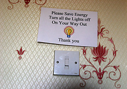 UK ENGLAND HARTLEPOOL 30MAY06 - Sign inside Hotel room asking residents to conserve energy...jre/Photo by Jiri Rezac..© Jiri Rezac 2006..Contact: +44 (0) 7050 110 417.Mobile:  +44 (0) 7801 337 683.Office:  +44 (0) 20 8968 9635..Email:   jiri@jirirezac.com.Web:    www.jirirezac.com..© All images Jiri Rezac 2006 - All rights reserved.