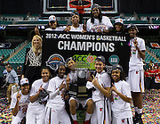 Maryland celebrate their 68 - 65 win over Georgia Tech in the Championship Game of the 2012 ACC Women's Basketball Tournament in Greensboro, North Carolina.  March 04, 2012  (Photo by Mark W. Sutton)