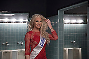 LOS ANGELES, CA - OCTOBER 22, 2016:  <br /> <br /> Kylie Love, 33, (Georgia) fixes her hair in what was designated a gender neutral bathrooms backstage at the Transnation Queen USA 2016 pageant, a transgender beauty pageant held at The Theater at The Ace Hotel in downtown Los Angeles.<br /> <br /> (Melissa Lyttle for The Guardian)