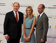 Prince's Albert II of Monaco (L), US actress Emily Wickersham (C) and US actor Miguel Ferrer (R) pose during the opening ceremony of the 54st Monte-Carlo Television Festival on June 7, 2014 in Monaco