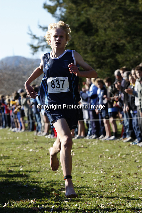 Michael Sutton of Tauranga Boy's College finishes first in the junior boys 4000m event during Saturday's New Zealand Secondary Schools Cross Country Championships at Saxton Field. 20 June 2009. Photo: PHOTOSPORT