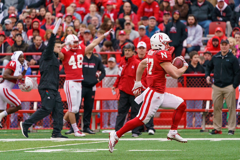 Wyatt Mazour #37 during Nebraska's annual Spring Game at Memorial Stadium in Lincoln, Neb., on April 21, 2018. © Aaron Babcock