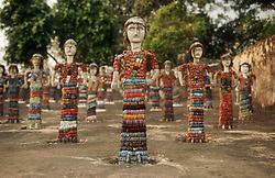 Rows of statues in rock garden at Chandigarh; Punjab; India,