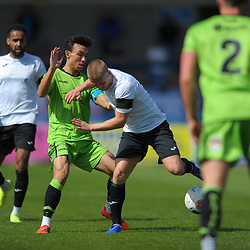 TELFORD COPYRIGHT MIKE SHERIDAN Darryl Knights of Telford battles for the ball during the National League North fixture between AFC Telford United and Kings Lynn Town at the Bucks Head on Tuesday, August 13, 2019<br /> <br /> Picture credit: Mike Sheridan<br /> <br /> MS201920-009