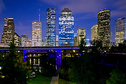Houston, TX:  The city's skyline at twilight, looking almost due east.