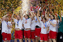Players of Denmark celebrate at final ceremony after the final handball match between Serbia and Denmark at 10th EHF European Handball Championship Serbia 2012, on January 29, 2012 in Beogradska Arena, Belgrade, Serbia. Denmark defeated Serbia 21-19 and became European Champion 2012. (Photo By Vid Ponikvar / Sportida.com)