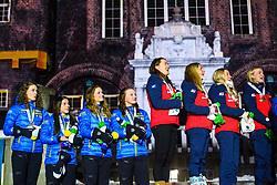March 16, 2019 - –Stersund, Sweden - 190316 Hanna Öberg, Linn Persson, Mona Brorsson, Anna Magnusson of Sweden and Synnøve Solemdal, Ingrid Landmark Tandrevold, Tiril Eckhoff, Marte Olsbu Røiseland of Norway celebrate during the medal ceremony for the Women's 4x6 km Relay during the IBU World Championships Biathlon on March 16, 2019 in Östersund..Photo: Petter Arvidson / BILDBYRÃ…N / kod PA / 92270 (Credit Image: © Petter Arvidson/Bildbyran via ZUMA Press)