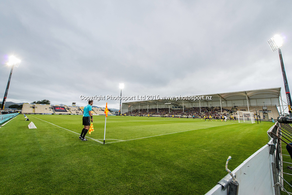 General view of AMI Stadium with match action and floodlights during the round 17 A-League match between the Wellington Phoenix and the Central Coast Mariners at AMI Stadium in Christchurch, New Zealand. 30 January 2016. Photo: Kai Schwoerer / www.photosport.nz