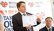 British National Party election manifesto launch for the May 3 London Assembly elections in East London, Great Britain <br /> 9th April 2012 <br /> <br /> <br /> <br /> Nick Griffin - chairman / leader of the BNP <br /> <br /> Stephen Squire <br /> candidate and Regional Organiser for the whole of London<br /> <br /> <br /> Photograph by Elliott Franks