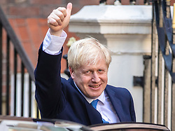 © Licensed to London News Pictures. 23/07/2019. London, UK. Boris Johnson gives a thumbs up as he leaves Conservative Party Headquarters in Westminster. He has been elected as Leader of the Conservative Party and will become the next Prime Minister. Photo credit: Rob Pinney/LNP