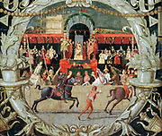 A Tournament,  c1490.  The Rape of the Sabines (after the signal) from Two Cassone Panels. Tempera on spruce. Domenico Morone (c1442-1518) Italian painter. Chivalry Military