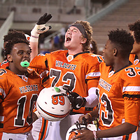 Adam Robison   BUY AT PHOTOS.DJOURNAL.COM<br /> Calhoun City's Clay Wade celebrates as he gets the Calhoun City fans pumped from the field after the win over Bay Springs Friday night in Starkville.